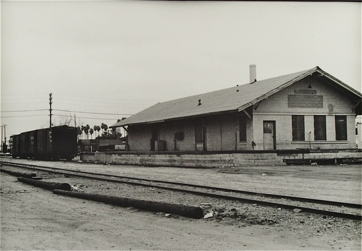 The old Van Nuys freight station is now leased as as a warehouse when this photo was taken.  I believe carpeting was being stored in it for a local business. --©photo B. Smith
